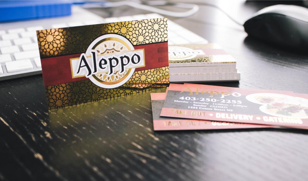 gold foil business card design calgary